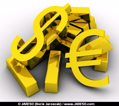 Gold bars and golden DOLLAR and EURO sign on white background