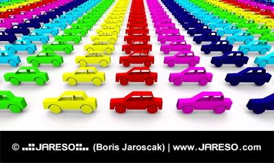 इंद्रधनुष के रंग में कारें