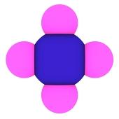 मीथेन 3 डी मॉडल के दृश्य (CH4 अणु)