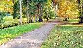 Turcianska Stiavnicka, स्लोवाकिया में रंगीन पार्क की शरद ऋतु दृश्य