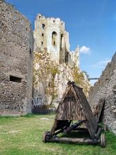 Beckov के महल के नीचे तख्तों का घर