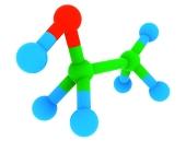 Izolált etanol (alkohol) C2H6O molekula, 3D modell