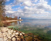 Őszi partján, a Liptovská Mara-tó, Szlovákia