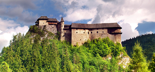 Panoramic view of northern side of Orava Castle during cloudy day at Lower Orava Region, Slovakia.