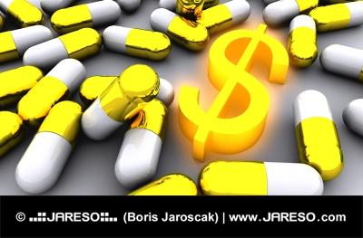 Molte pillole dorate con incandescente simbolo del dollaro d'oro