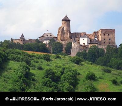 Una collina con il castello di Lubovna, Slovacchia