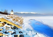 Liptovska Mara lago in inverno