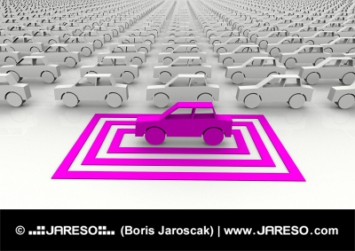 象徴的なピンクの車は四角で強調