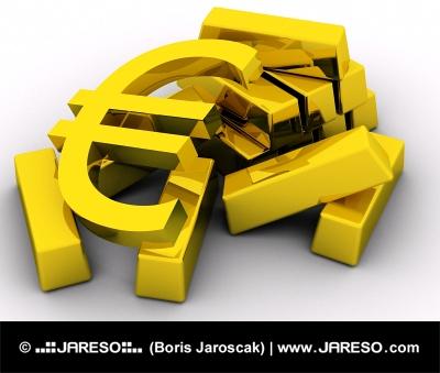 金の延べ棒の山の近くに金色のユーロ記号