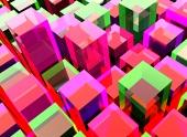 背景が赤と緑のキューブで構成される
