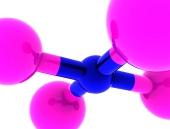 ピンクと青の色で抽象的な分子のコンセプト