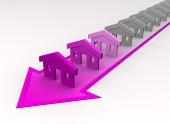 斜めの矢印の上にピンクの色の家