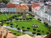 夏にKremnica町の上からの眺め