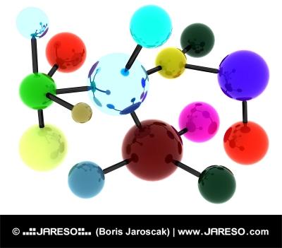 Abstracte kleurrijke molecuul