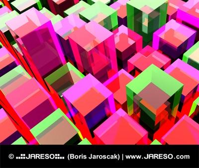 Achtergrond bestaande uit rode en groene blokjes