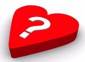 Vraagteken op rood hart