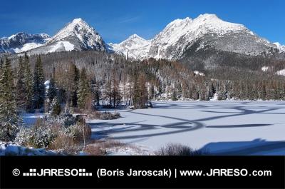 Bevroren Strbske Pleso in Hoge Tatra