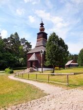 Een houten kerk in Stara Lubovna, Slowakije