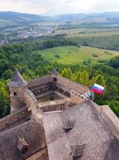 Een vooruitzicht van de Lubovna kasteel, Slowakije