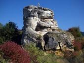 Rock met kruis in de buurt Besenova, Slowakije