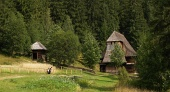 Houten kerk in Zuberec openluchtmuseum, Slowakije
