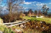 Archeologisch bewaard gebleven ruïnes van het kasteel van Liptov, Slowakije