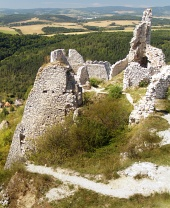 Uitzicht vanaf het kasteel van Cachtice