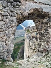 Uitzicht vanaf ru?ne van het kasteel Lietava