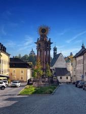 Straat in Banska Stiavnica, UNESCO-stad