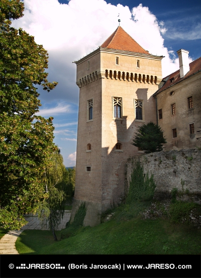 Dry moat and tower of Bojnice castle