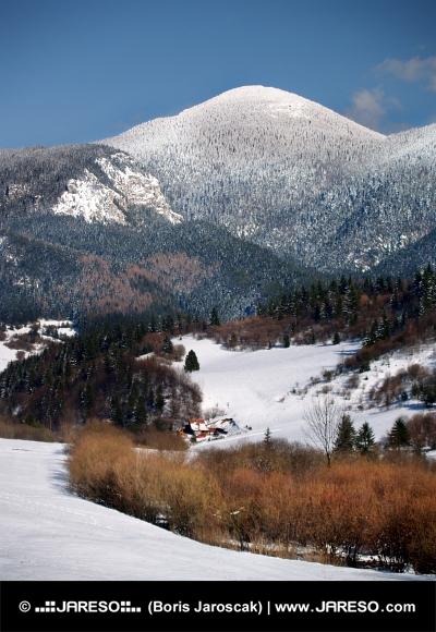 Choc Mountain and valley in winter