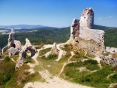 Ruins of the castle of Cachtice during clear summer day in Slovakia
