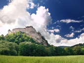 Orava Castle on hill and ...