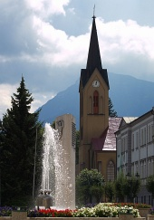 Church and fountain