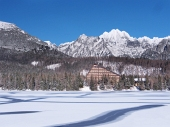Frozen surface of Strbske Pleso (Tarn)