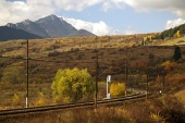 Railroad and mountain