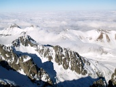Snowy High Tatras and clouds from above