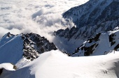 Steep hills of High Tatras Mountains in winter
