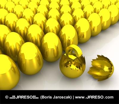 Złoty Pound symbol wewnątrz pęknięte jaja