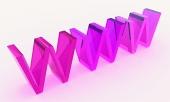 3D tekst WWW wykonane ze szkła w kolorze różowym kolorystyce