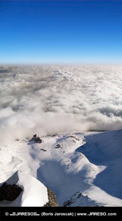Widok z lotu ptaka Lomnické sedlo, Wysokich Tatrach