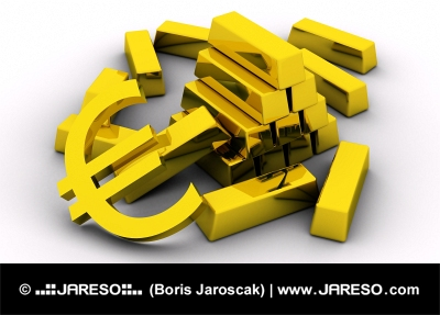 Lingouri de aur și simbol euro auriu
