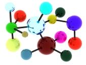 Moleculă abstractă, colorată