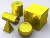 Forme de bază 3D, cub, sferă, cilindru, tub și piramidă