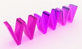 Text WWW 3D din sticlă, în nuan?e roz