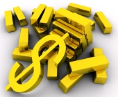 Lingouri de aur ?i simbol dolar auriu pe fundal alb