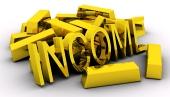 """Lingouri de aur și cuvântul """" INCOME"""" auriu pe fundal alb"""