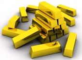 Lingouri de aur pe fundal alb