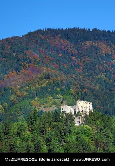 Ruinele Castelului Likava ascunse în pădure