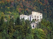 Pădure ?i ruinele Castelului Likava din Slovacia